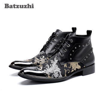 Batzuzhi Luxury British Style Men Ankle Boots Genuine Leather Motorcycle Cowboy Boots Men Leather Boots Botas Hombre, Big US6-12