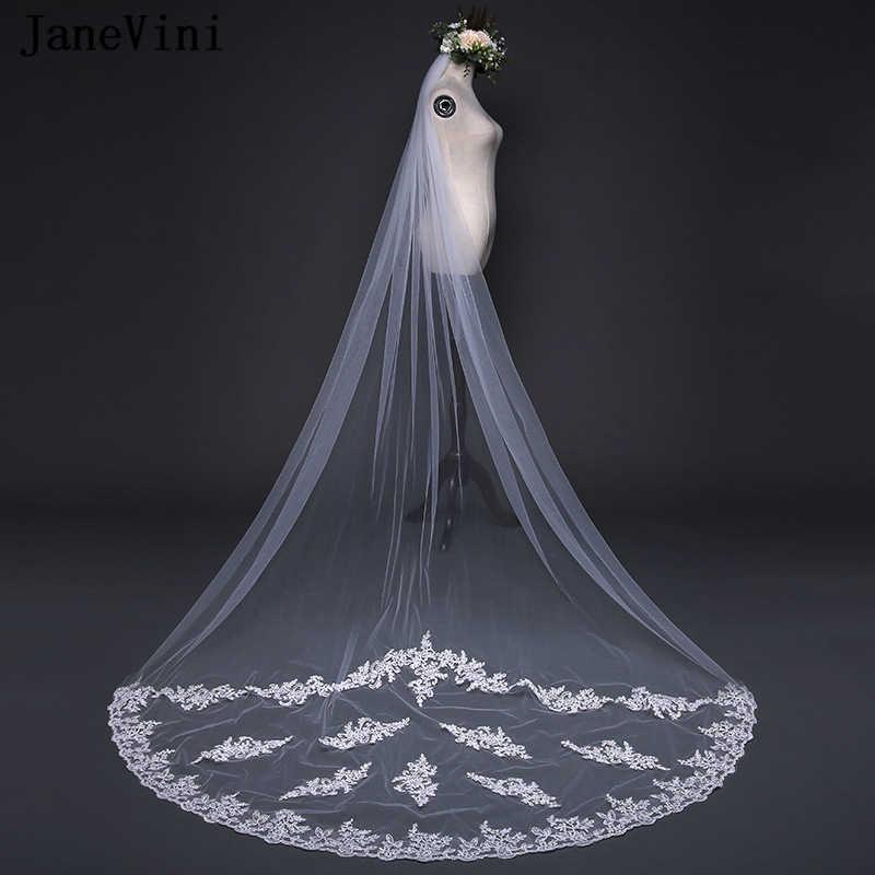 JaneVini 2018 שנהב קתדרלת חתונת רעלה עם מסרק שכבה אחת תחרה אפליקציות קצה טול 3 m ארוך כלה רעלה חתונה אבזרים