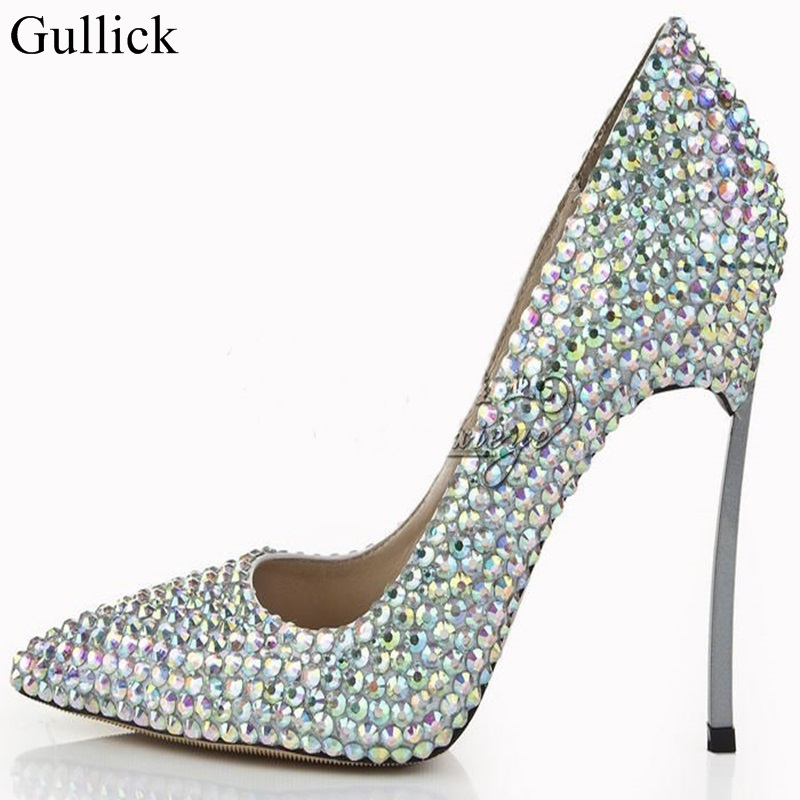 Luxury Bling Bling Crystal Pointed Toe Pumps Silver Blade Heels Women Party Dress Shoes Sexy Slip-on Wedding Bride Shoes 2018 newest flock blade heels shoes 2018 pointed toe slip on women platform pumps sexy metal heels wedding party dress shoes