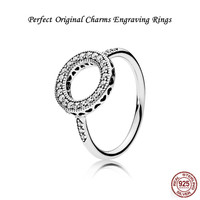 Collections S925 Silver Jewelry Perfect Original Engraved Logo Charms PANDORAS Ring For Women Hearts Halo Clear