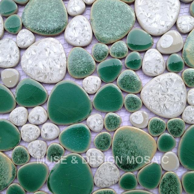 Factory Direct 3D Pebble Green White Glazed Ceramic Wall Tile for