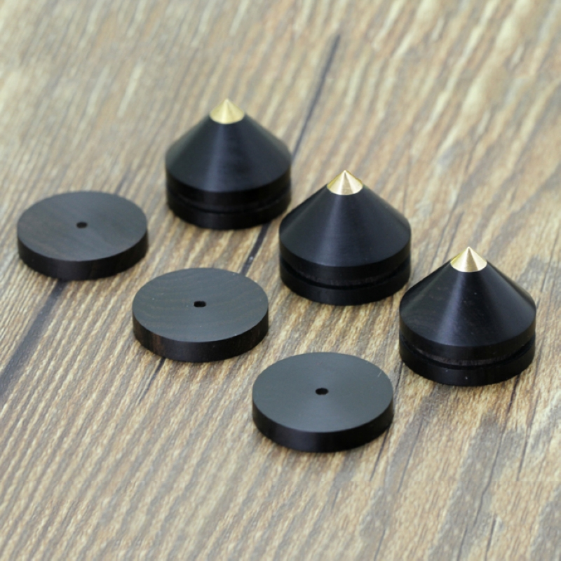 где купить 4pcs 23mm High Quality Indonesia Ebony Speaker Spikes Professional Isolation Stand Feet + Base Pad MAYITR дешево