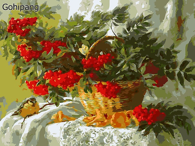 Frameless Pictures Painting By Numbers Hand-painted Living Room Landscape Painting Still Life Fruit Basket