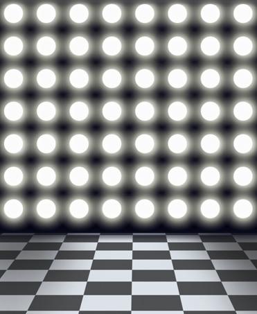 8x12ft Round Spot Light Wall Black White Mosaic Tiles Checkers Floor