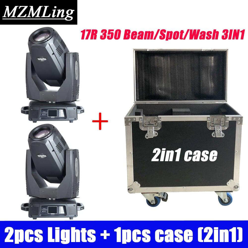 2PCS Lights + 1PCS Flight Case 350w 17R Wash /Spot /Beam 3-In-1 Stage Light DMX512 Moving Head Light DJ /Bar /Show /Stage Light