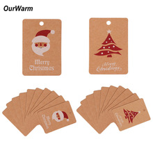 OurWarm 10Pcs Christmas Kraft Paper Hanging Tags Card Santa Claus Christmas Ornaments Tree Decorations for Home Party Supplies