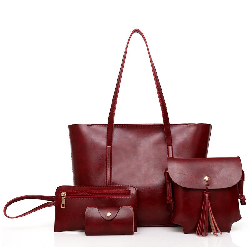 4PCS Women Bag Set Top Big Capacity Female Tassel bag Female Purse Ladies PU Leather Outdoor Sport Trave Training Bags