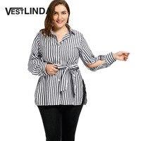 VESTLINDA Plus Size XL 3XL 2017 New Women Casual Long Shirts Striped Slit Shirt Collar Long