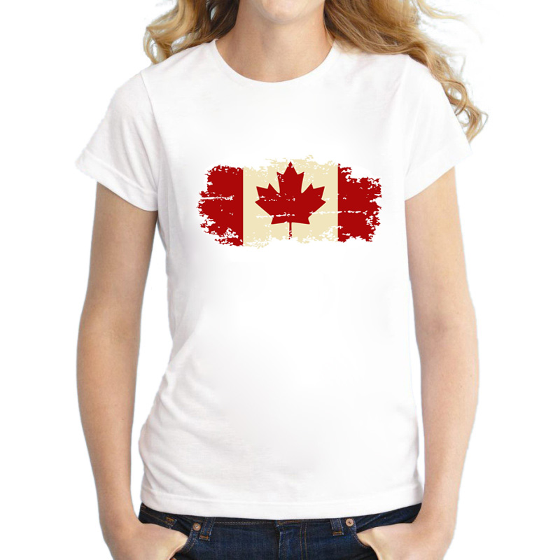 Canada National Nostalgia Flag Damer T-skjorte Sommer gjør det gamle designet Casual TopTees for Girls