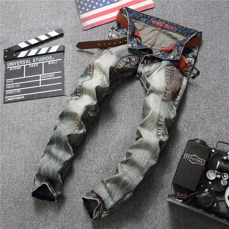 2019 Men's Vintage Blue Cargo Biker Jeans For Motorcycle Slim Holes Ripped Distressed Button Fly Denim Pants Vaqueros Hombre