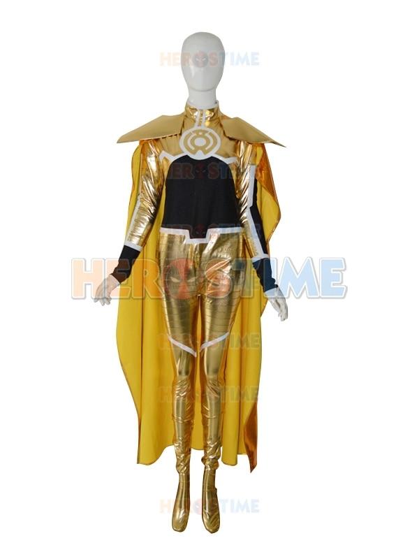 Super Cool Yellow Lantern Superhero Costume Fullbody halloween cosplay shiny metallic Lantern cosrps costume show zentai suit