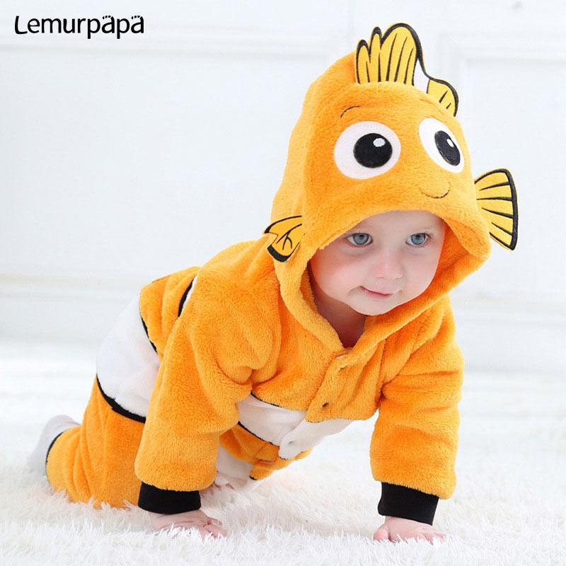 Kawaii Cute Baby RomperNimo Costume Newborn Toddler Boy Girl Jumpsuit Winter Warm Clothes Anime Fish Kigurumis Onesie Child Suit