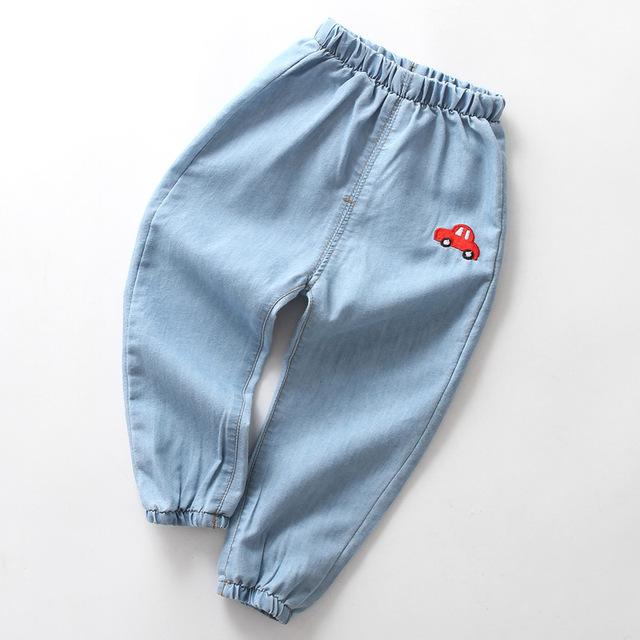 Soft Summer Kids Jeans 2019 New Casual Blue Girls Denim Pants Elastic Waist 2 3 4 5 6 Year Boys Jeans Toddler Children Trousers