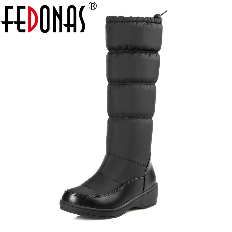 FEDONAS Plus Size 35-44 New Fashion Boots Women Keep Warm Down Snow Boots Thick Fur Mid Calf Winter Boots Shoes Woman Black