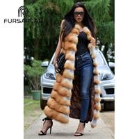 FURSARCAR Real Fox Fur Vest Women Winter Genuine Gold Fox Fur Vest 120 CM Long High Quality Natural Female Gold Fox Fur Gilet