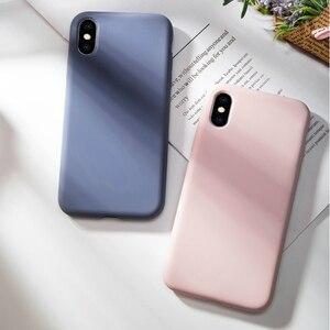 Image 1 - Oryginalny krzemu skrzynka dla iPhone X luksusowe ciecz pokrywa dla iPhone XR XS Max 7 8 Plus 6 6 S plus cukierki kolor Fundas Coques Capas