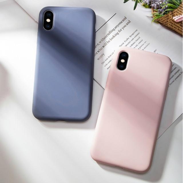 Oryginalny krzemu skrzynka dla iPhone X luksusowe ciecz pokrywa dla iPhone XR XS Max 7 8 Plus 6 6 S plus cukierki kolor Fundas Coques Capas