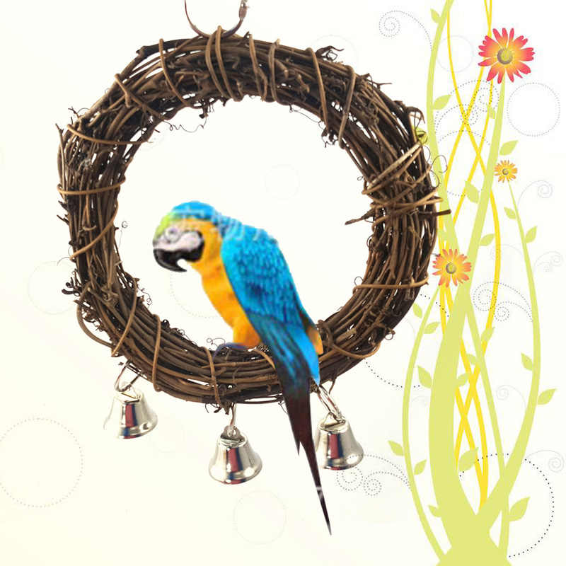 Bird Parrot Hanging Swing Rings Balls with Bells Chew Toy for Birds Standing Pet Toy Supplies Hot Sale