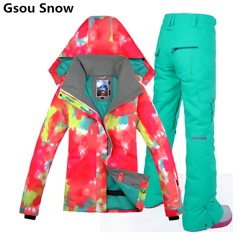 Winter 2016 Gsou Snow Brand Snowboard Jackets for Women Ski Suit Female Warm Snow Jackets Ladies Skiing Trousers Pants