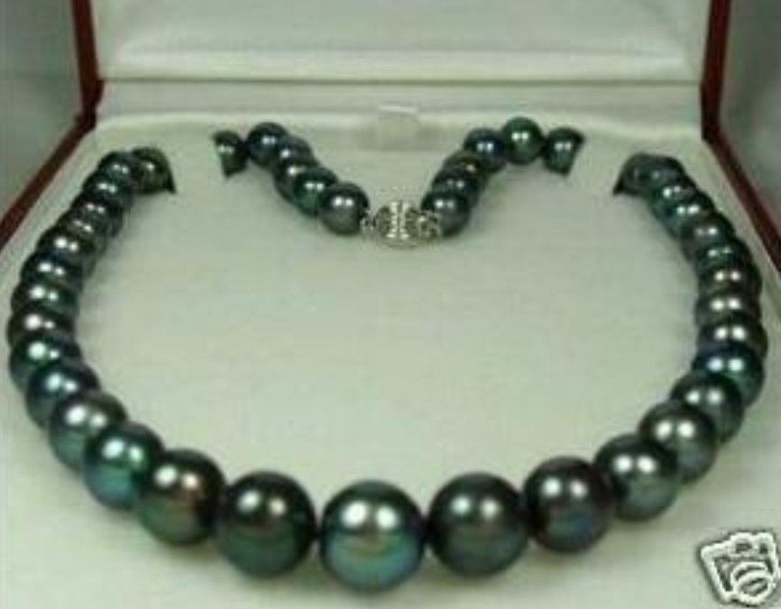 FREE SHIPPING>@@> Natural 9-10mm Tahitian Black Pearl Necklace AAA цена и фото