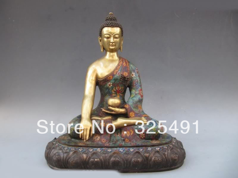 Tibet 100% Bronze pur travail manuel cloisonné 24 K or doré Sakyamuni bouddha Statue z