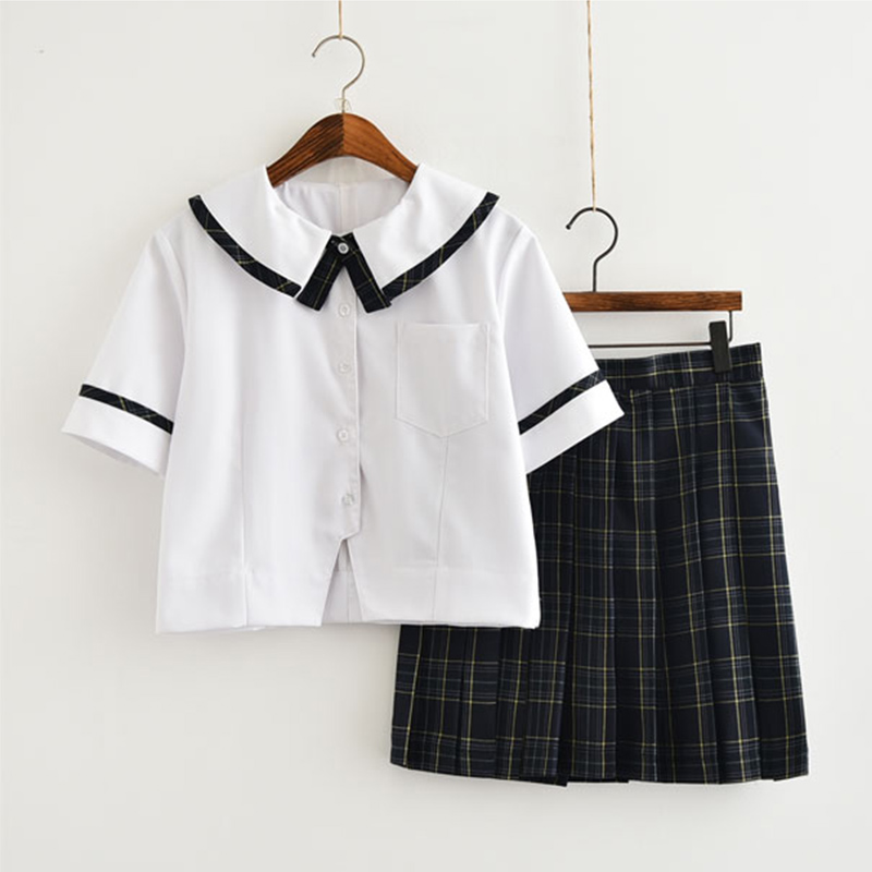Japanese Harajuku Korean Short-sleeved School Girls' Uniforms White Top+Grid Skirt For Women Girls New SMLXLXXL