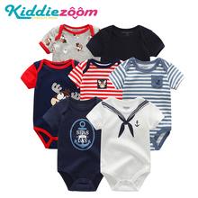 Śpioszki dla niemowląt lato 7 sztuk partia ubrania chłopięce z krótkimi rękawami noworodka dziewczyny kombinezony 100 bawełna Roupas de bebe dla 0-12M noworodka tanie tanio COTTON Zwierząt Dla dzieci O-neck Przycisk zadaszone Pajacyki Unisex BDS7133 Pasuje mniejszy niż zwykle proszę sprawdzić ten sklep jest dobór informacji