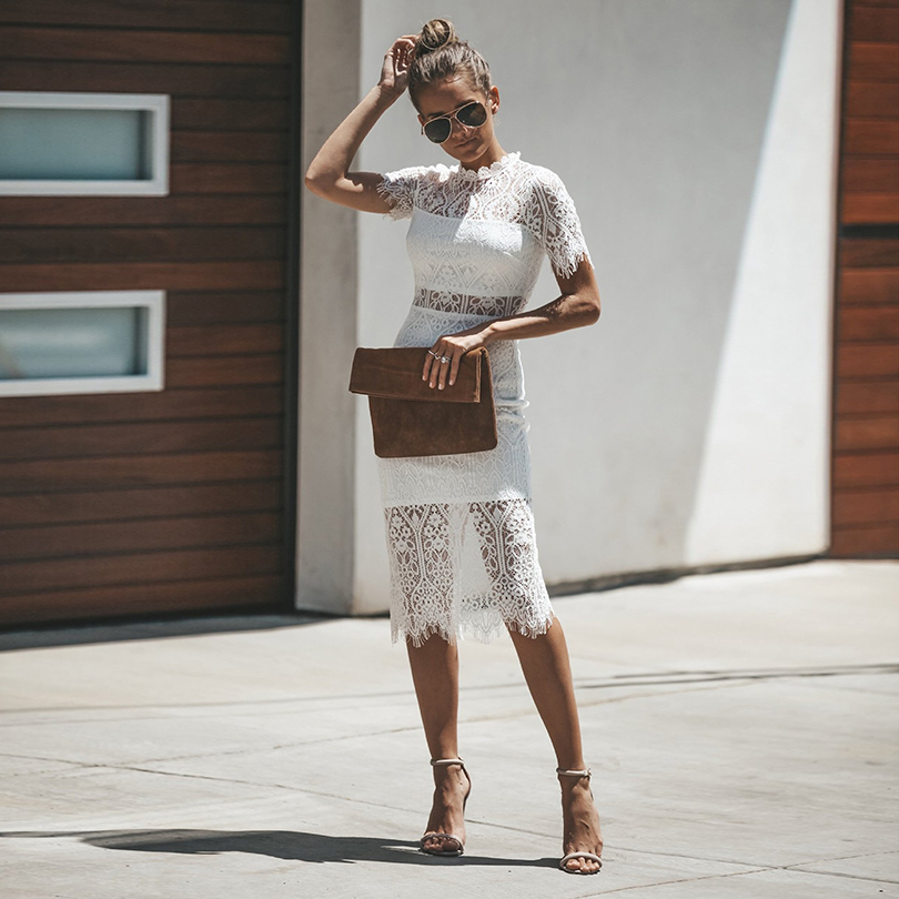 Summer Dress Women Casual Short Sleeve Slim White&Black Lace Dresses robe femmel Sexy Mid-Calf Dress