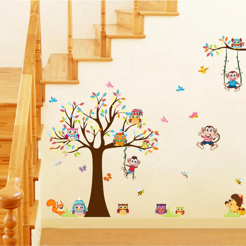 brand 2017 wall stickers for kids rooms animal cute owl tree monkey nursery baby home decor upscale furniture