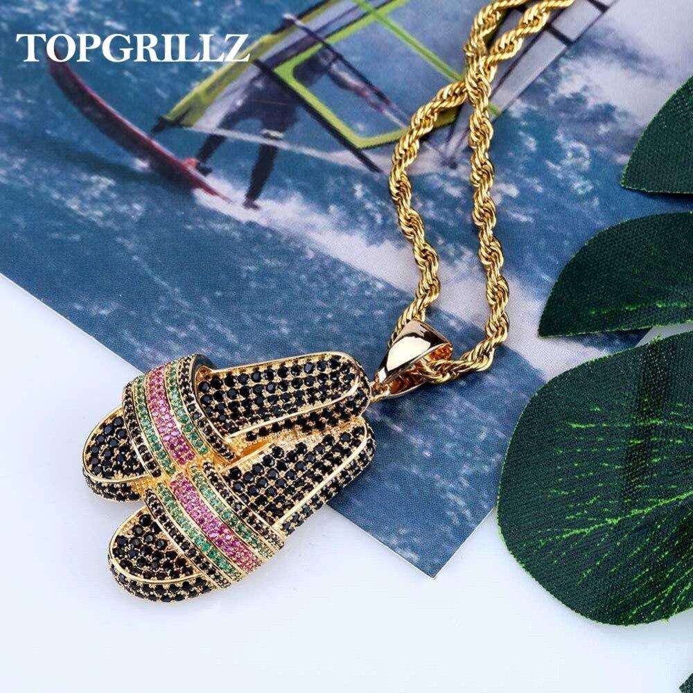 TOPGRILLZ personnalisé pantoufle chaussures pendentif collier glacé AAA + Hip Hop hommes femmes charmes chaîne bijoux pour cadeaux