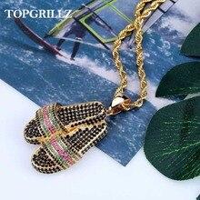 Topgrillz chinelo sapatos pingente colar congelado aaa + hip hop masculino feminino encantos corrente hip hop jóias para presentes