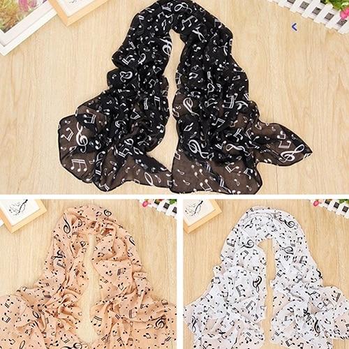 Women Girl Soft Chiffon Musical Note Print Long   Scarf   Shawl   Wrap   Fashion Gift