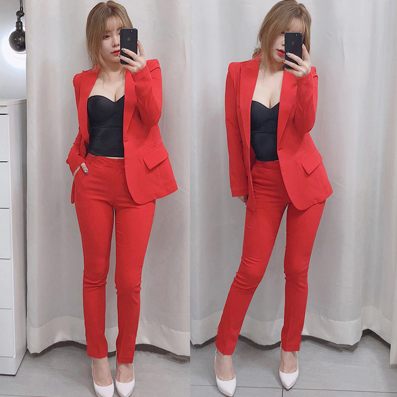 Set female 2019 spring and autumn new fashion casual suit feet pants two sets of temperament wild solid color women's clothes