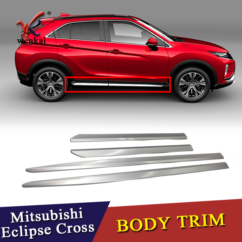 For Mitsubishi Eclipse Cross 2017 2019 Side Door Body Molding Line Cover Trim Protector Decoration Exterior Accessories 4pcs