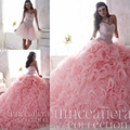 Luxo frisada lace querida light pink puffy vestidos quinceanera 2017 2 em 1 destacável ruffles skirt sweet 16 vestidos pageant