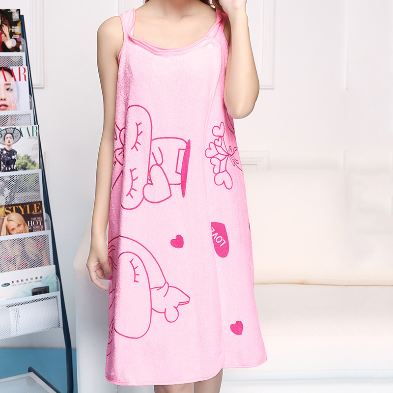 Ladies Lovely Magic Sleeves Nightgowns Unisex Transformable Bath Robes Towels Printed Bath Towels Wearable