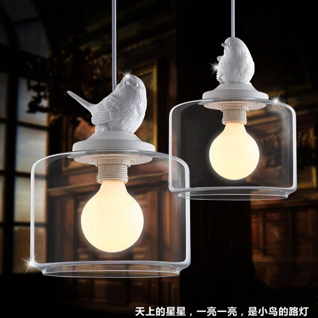 European Creative Bird Chandelier Led Lamps Living Room E27 Light Retro Art Glass