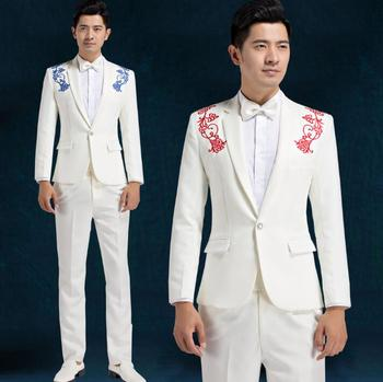 Chorus embroidered mariage groom wedding suits for men blazer boys prom suits fashion slim latest coat pant designs stage white