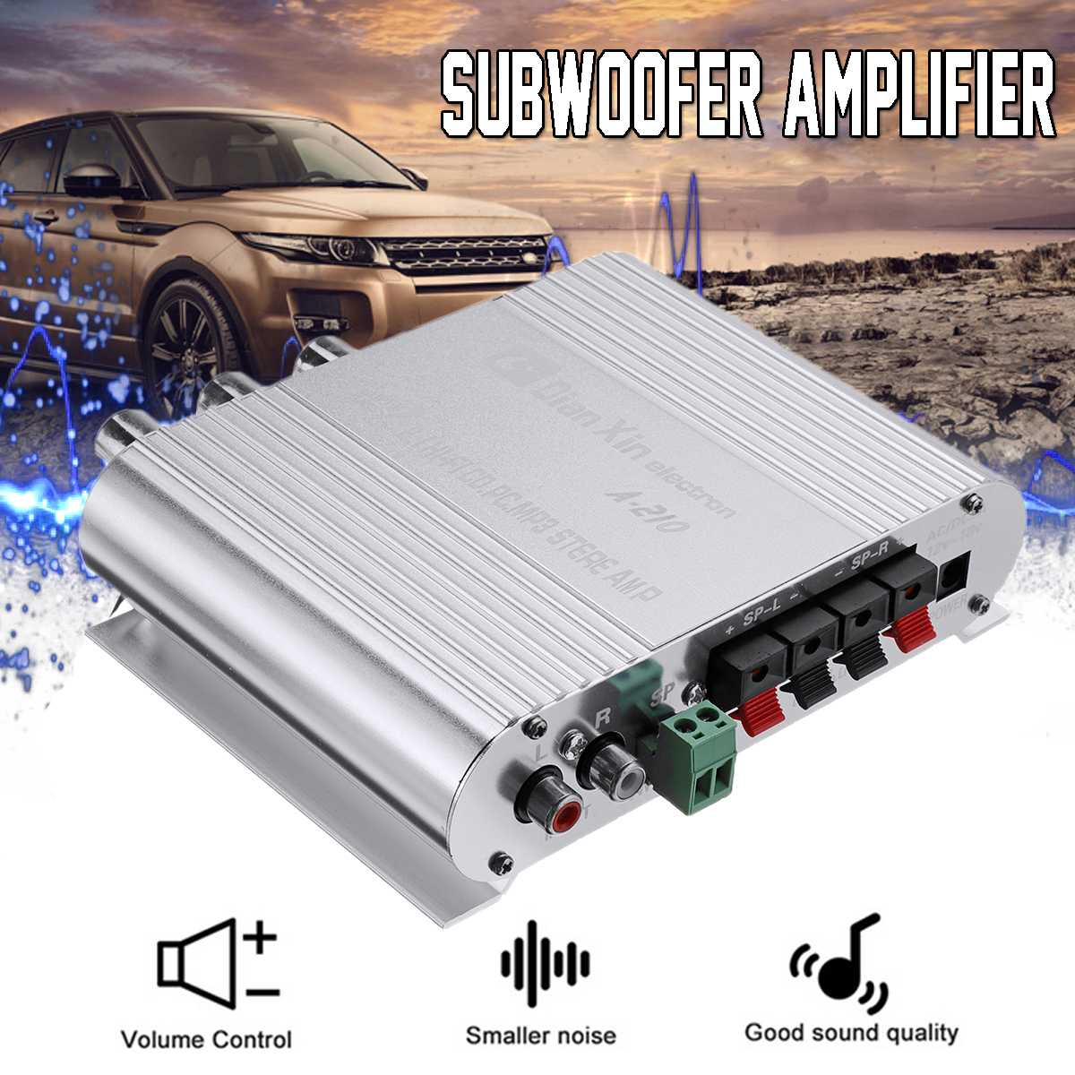 Car Auto DX 210 2.1 Channel Bass Power Amplifier HiFi Audio Stereo Speaker Booster 12V Excellent Thermal Stability 14x10.5x4cm|Stereo Amplifiers| |  - title=