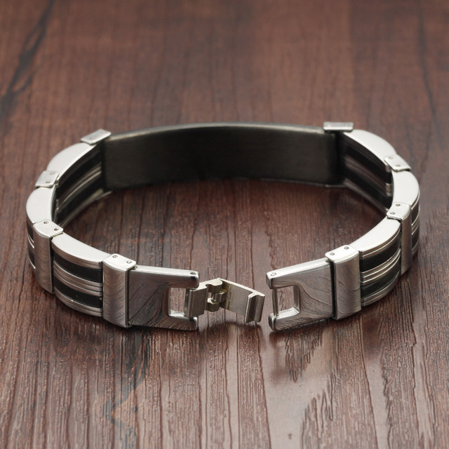 Promotion 13MM Width Stainless Steel Black Silver Silicone ID Bracelet Wristband 8.07Inch Man Jewelry Cheap Price HD936