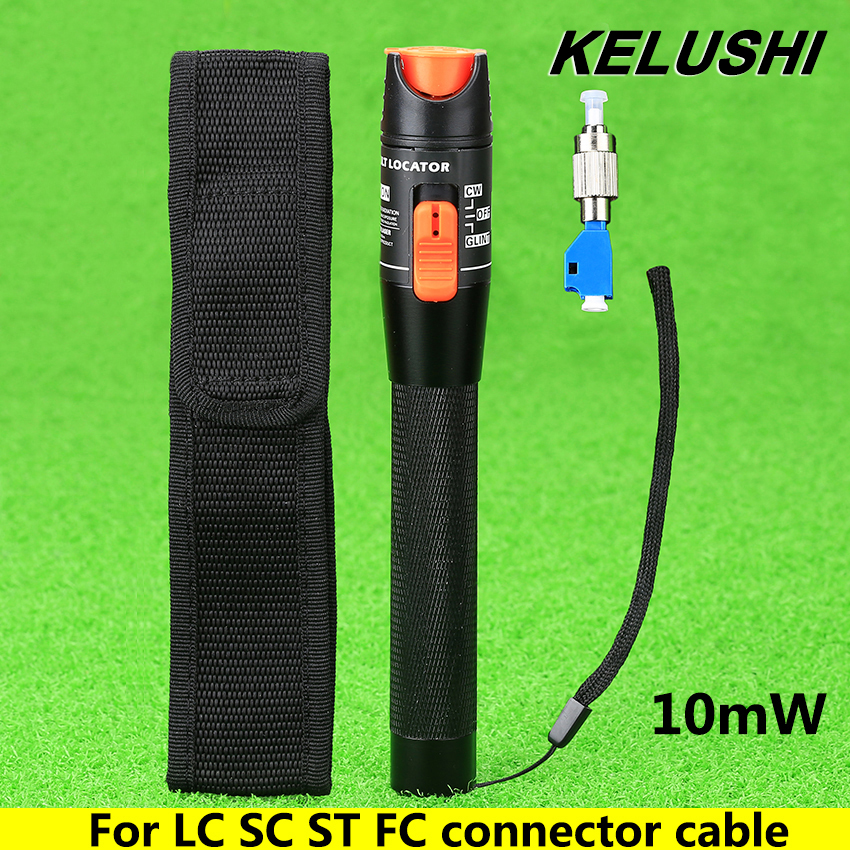 KELUSHI 10mW Aluminium Visual Fault Locator Fiber Tester Detector FC Male to LC Female Adaptor For