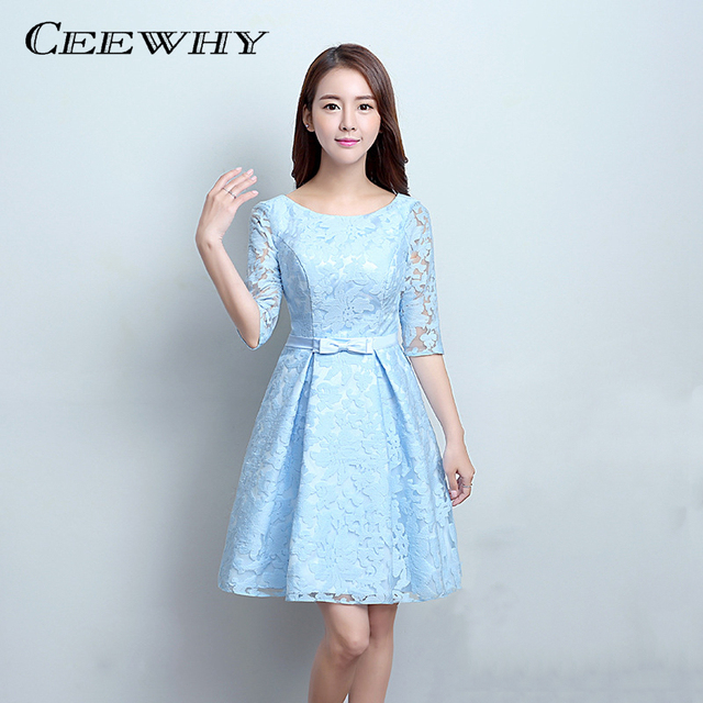 66f4eb9d111 CEEWHY Light Blue Half Sleeves Knee Length Short Wedding Party Dress Formal  Gowns Elegant Cocktail Dress 2017 Homecoming Dresses