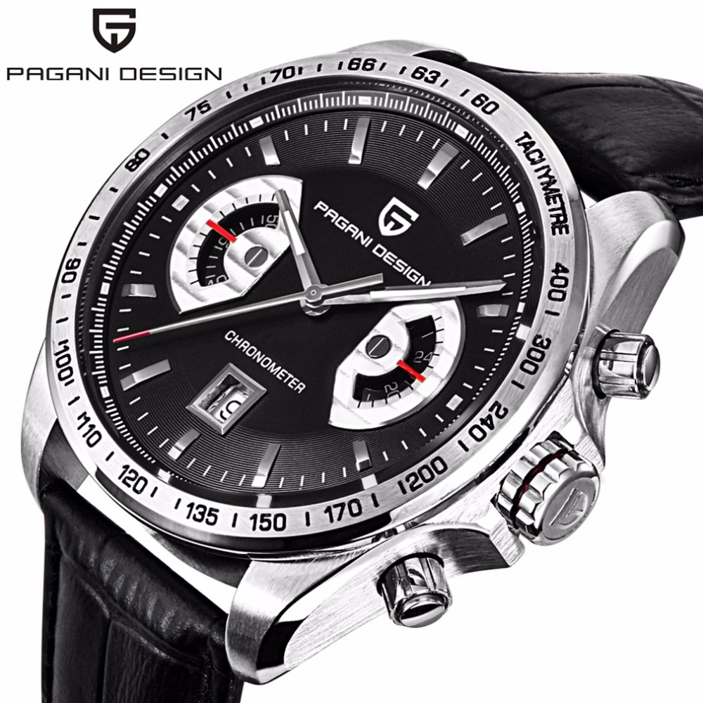 PAGANI DESIGN Sport Watch Men Waterproof Genuine Leather Quartz Chronograph Business Wrist Watch Male Clock genuine curren brand design leather military men cool fashion clock sport male gift wrist quartz business water resistant watch