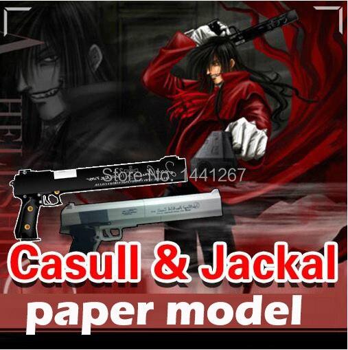 1:1 firearms Hellsing weapons Casull & Jackal 3D paper model pistol Handmade DIY manual gun toy