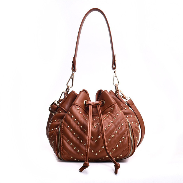 Vintage Fashion Women Plush Rivet Shoulder Bags High Quality PU Leather Women Bags Designer Cross Body Bag Female Bucket Bag