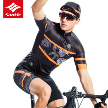 цена на Santic Cycling Jersey Men Short Sleeve Pro Fit Mtb Jersey Ciclismo Breathable Quick Dry Road Bike MTB Short Sleeve Jersey