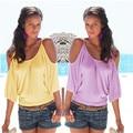 Verano de La Señora Blusa Nueva Moda Blusas de Las Mujeres Camisas De Algodón Poliéster Off-hombro de Las Mujeres de La Blusa Rosa Amarillo Camisas Casuales Tops
