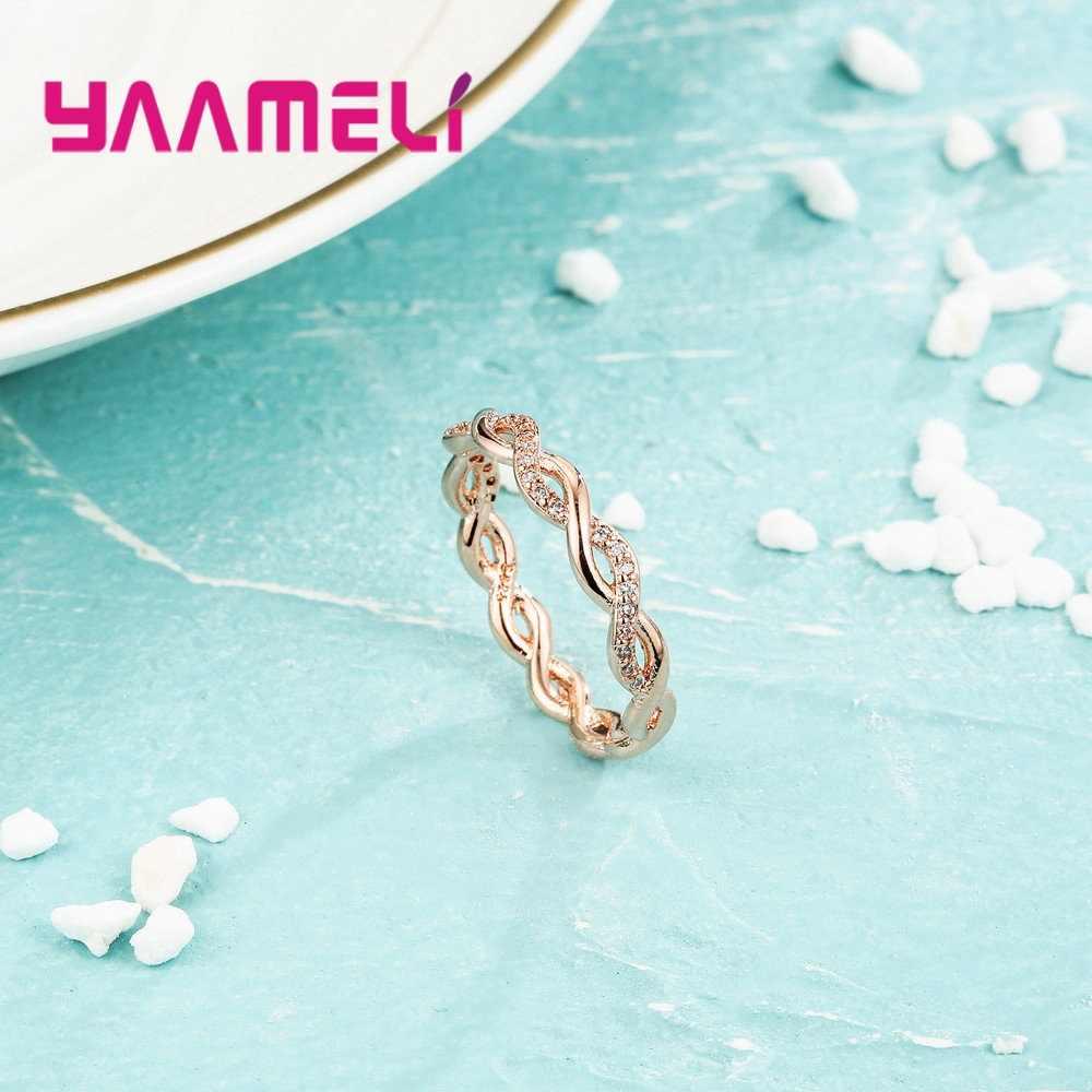 Di alta Qualità Nuovo Intrecciato Infinity Anello per le Donne Degli Uomini di Fidanzamento di Cerimonia Nuziale 925 In Oro Rosa Zircone Cubico Regalo Dei Monili Charming Hot anello