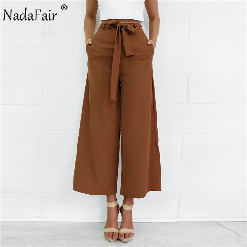 Nadafair sash bow tie up midi   wide     leg     pants   women 2019 new spring brown black loose casual ankle-length   pants   england style