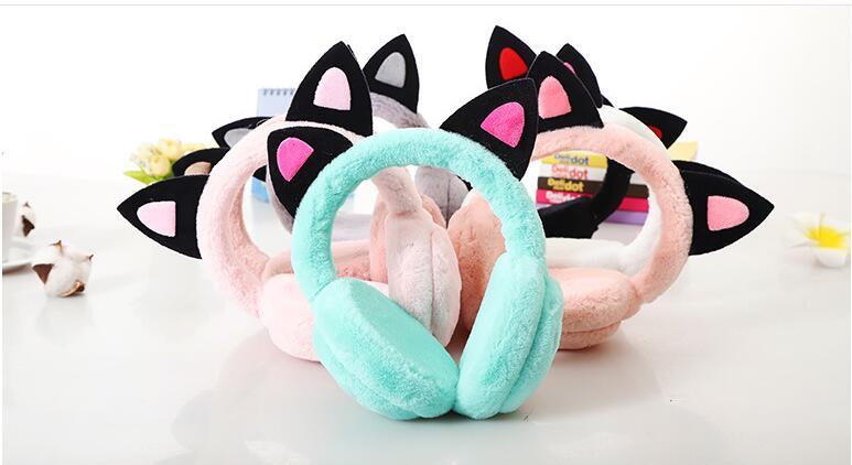 12pcs New Fashion Solid Color Lovely Cats Ears Women Earmuffs High Quality Cute Girls Ear Muffs Faux Fur Winter Warmer Earflap